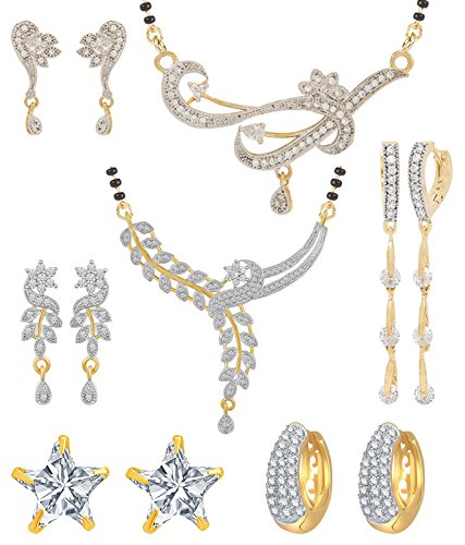 Buy Jewels Galaxy White Gold-Plated 2 Mangalsutra Earrings Set & 3 Earrings  - Combo of 5 for Women (JG-CB-MS-838) at Amazon.in