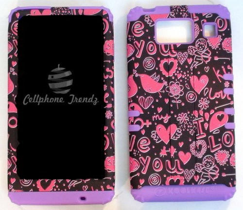 Cellphone Trendz (TM) Hybrid 2 in 1 Case Hard Cover Faceplate Skin Purple Silicone and Pink Black Hearts Snap Protector for Motorola Droid Razr Maxx HD XT926M by Verizon (Not for Droid Razr Maxx) + Free Wristband Accessory - Cellphone Trendz (TM)
