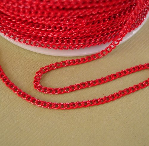 BeadsTreasure Red Colored Chain Twist Curbe -10 Ft.