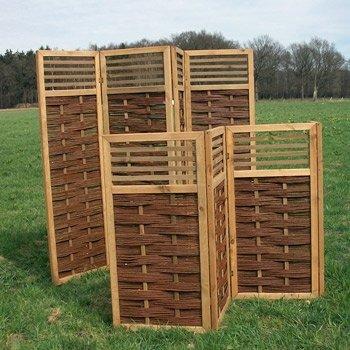 Weidenparavent - Paravent aus Weide mit Holzstreben als Sichtschutz und Windschutz Höhe 140 cm