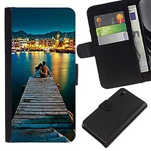 YiPhone /// Tirón de la caja Cartera de cuero con ranuras para tarjetas - AMOR POR EL MAR - Sony Xperia Z3 D6603