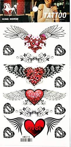 NipitShop 1 Sheet Sexy Waterproof Tatoo Beautiful Angel Wings Flying Heart Temporary Tattoo Body Art Flash Tattoo Stickers