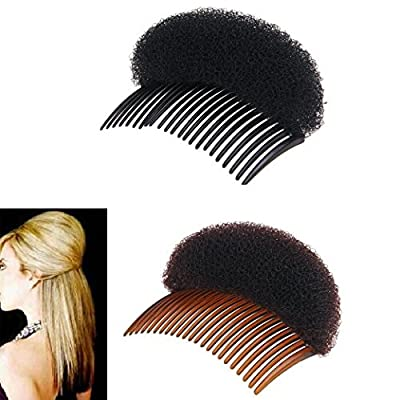 2Pices(1Black+1Brown) Women Bump It Up Volume Hair Base Styling Clip Stick Bum Maker Braid Insert Tool Do Beehive Hair Styler Party Hair Accessories with Comb