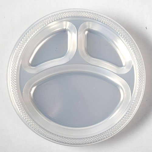 10 ¼ Inches Divided Plates Clear Package of 20