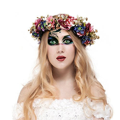[Valdler Halloween Decoration Costume Vintage Nature Berries Flower Crown with Adjustable Ribbon for Wedding Festivals] (Flower Headband Costumes)