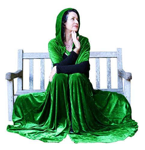 (Hooded Velvet Cloak Cape for Women in Velvet with Side Pockets - Raven Fox (48 inches Long, Green))