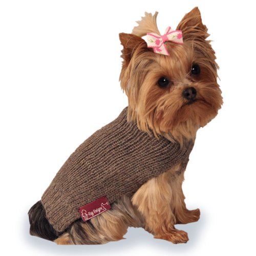 Ribbed Dog Sweater: Natural Hand-Loomed Sweater made from 100% Soft Alpaca (Medium)
