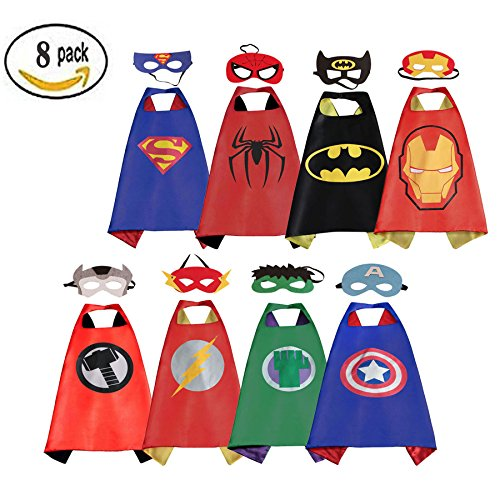 [RioRand Comics Cartoon Dress Up Costumes Satin Capes with Felt Masks (Boys Cartoon Costumes 8pcs)] (Super Easy Character Costumes)