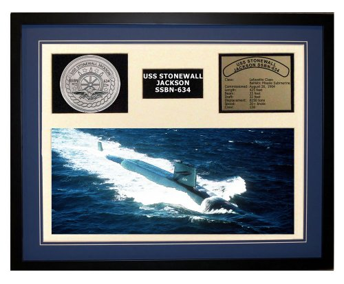 (Navy Emporium USS Stonewall Jackson SSBN 634 Framed Navy Ship Display Blue)