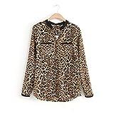 Product review for Women Leopard Print Shirt, Luca Long Sleeve Chiffon Slim Casual Blouses (XL, Black)