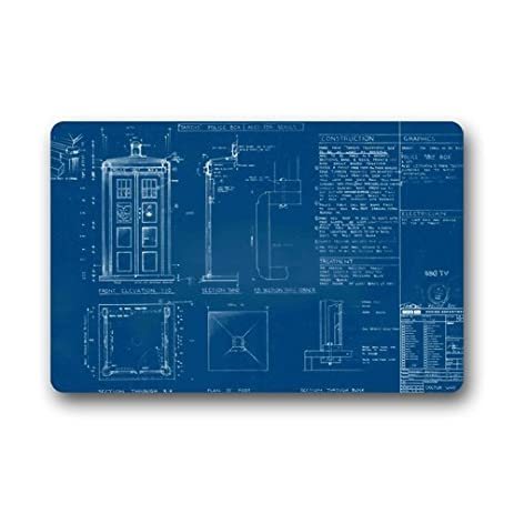 SENL Doctor Who Tardis Blueprints Custom Non Slip Machine Washable Decor  Bathroom Mats Doormat(23.6