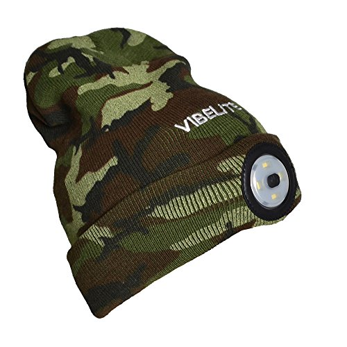 Rechargeable LED Light Winter Hat,Knitted Warm Cap, Comfortable Light up Beanie, Camouflage Green