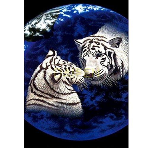 DIY 5d Diamond Painting Kits Painting,Handgemachtes Klebebild runder Diamond Malerei Stickpackungen mit Digitale Set eingefugt Kreuzstich Tiger voller Bohrer 30 40cm,Fur Home Dekoration (Spiegel Runden)