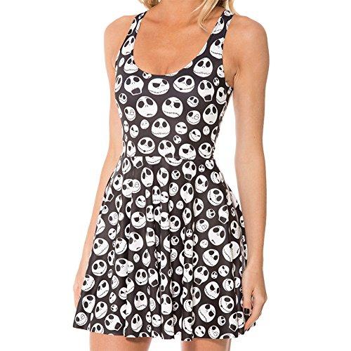 Froomer Women Galaxy Dress Adventure Time Sleeveless Dress Skater S-2XL Clubwear (Asian M, -