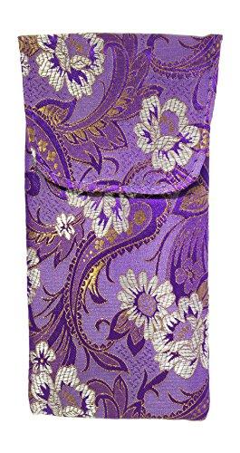 Beautiful Asian Silk Brocade Style Floral Motif Eyeglass Case Top Closure - Asian Glasses Women