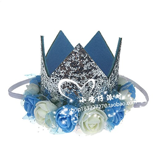 (ZEM-PXD Children'S Birthday Party Hats Gold Lace Crown Flowers Tiara)