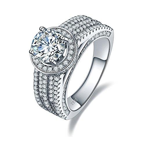 BONLAVIE Round Cut Cubic Zirconia Cz 925 Sterling Silver Ring Wedding Engagement Band Size 8 Round Vvs2 Ring