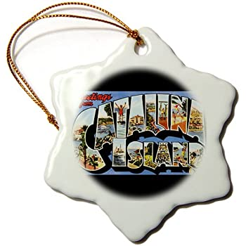 Porcelain 3dRose ORN/_180225/_1 Greetings from Catalina Island Scenic Postcard with Beach Scenes Snowflake Ornament 3-Inch