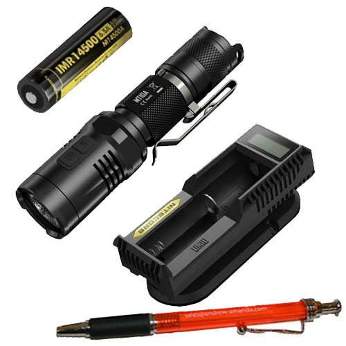 Bundle: Nitecore MT10A Flashlight W/UM10 Charger & IMR 14500 Battery + FREE A&A Pen