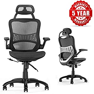 Ergonomic Office Chair, Komen Breathable High-Back Desk Chair,110° Reclining Office Chair, Executive Office Chair with Adjustable Seat Cushion and Headrest, Black, Max Load 350lbs (900AH4)