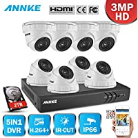 ANNKE 8CH 3-Megapixels Video Security Camera System with 2TB HDD and (8) 3MP 1920x1536@18fps Indoor/Outdoor Night Vision Weatherproof Surveillance Cameras, Free APP, Plug&Play