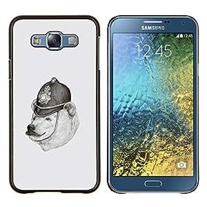 - WHITE BLACK POLAR POLICE PENCIL DRAWING BEAR - Caja del tel¨¦fono delgado Guardia Armor- For Samsung Galaxy E7 E7000 Devil Case