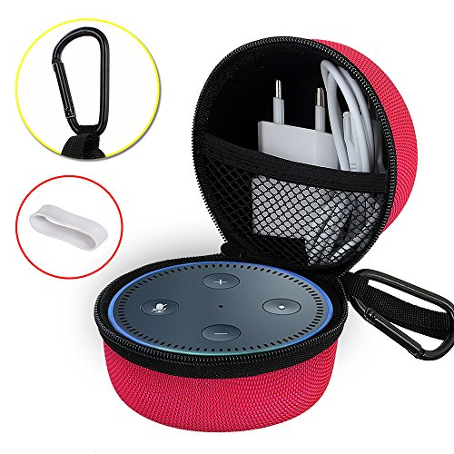 Echo Dot Case, Portable Carrying Travel Bag Protective Hard Case Cover for use with Amazon Echo Dot (2nd Generation) with Carabiner (Fits USB Cable and Wall Charger) Red
