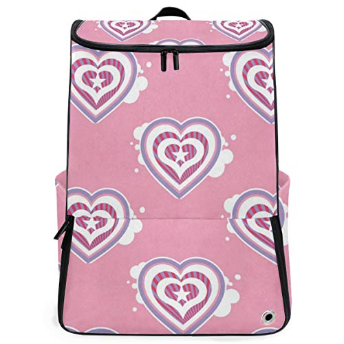 (Laptop Backpack Hearts Pattern Sprot Backpack for Women Large Casual Fashion Bag )