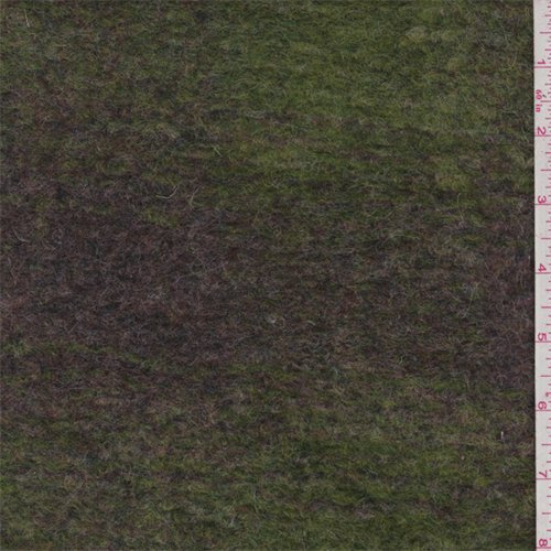 Lime/Burgundy Muted Plaid Boiled Wool Knit, Fabric By the Yard -