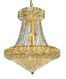 Udell Gold Modern 18-Light Hanging Chandelier Heirloom Handcut Crystal in Crystal (Clear)-8344D30G-RC--30