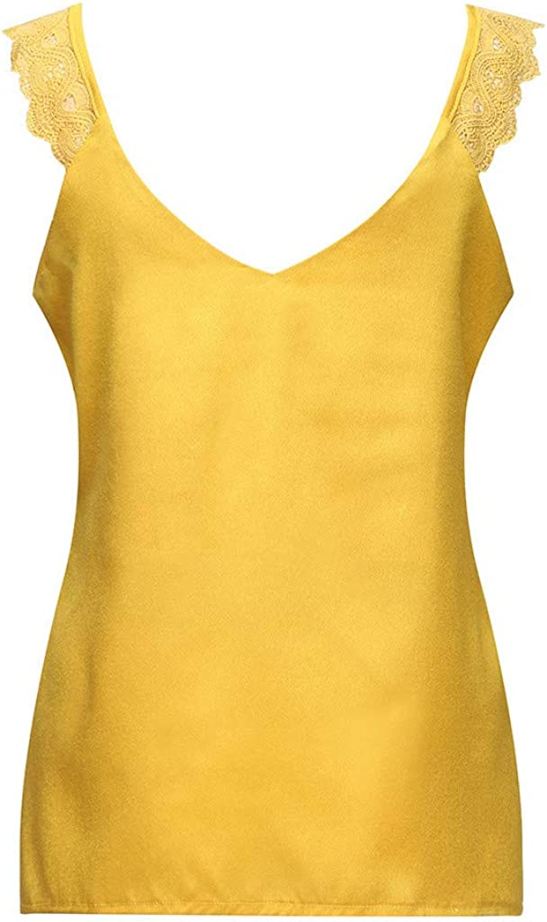 Portazai Fashion Tank Tops for Women Floral Lace up Sleeveless Shrits Bow Tie V-Neck Summer Casual Cami Tops Blouse
