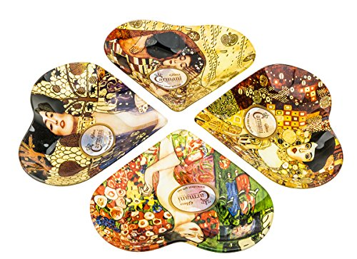 Carmani Four Decorative Glass Plates with Artworks by Gustav Klimt, Collectible Home Decor Dinner Plates, Heart Form Serving Dishes, 4-Piece Set