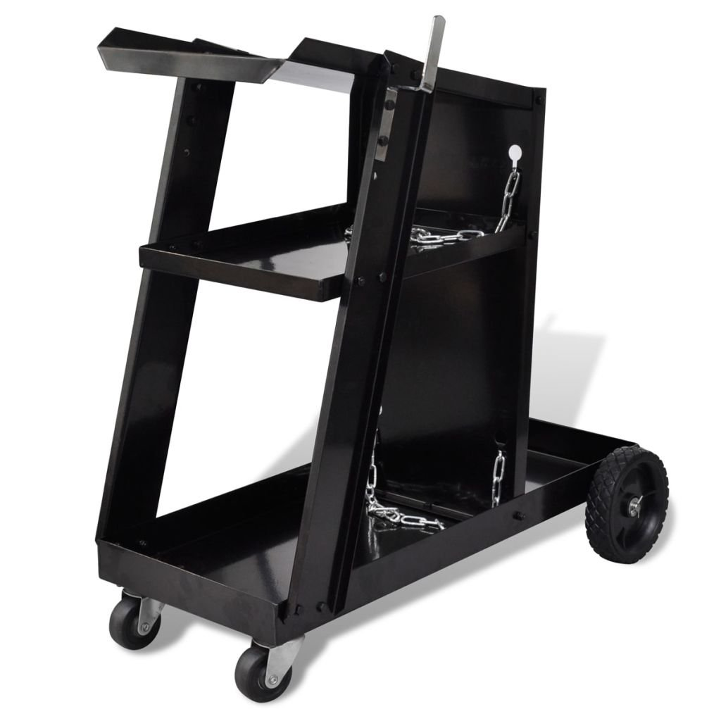 vidaXL Welder Trolley Welding Cart Plasma 3-Shelf Heavy Duty Workshop Organizer Garage