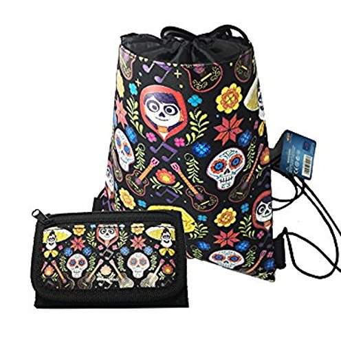 Disney Licensed COCO Sling Drawstring backpack Tote Bag w/ Small Wallet (black2) Review