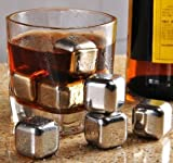 Image of Rifrano Whiskey Stones - Set of 4 Stainless Steel Stones - 2 Whiskey Glass Cup - Set of Box with Diamond Shape Transparent Ring Box
