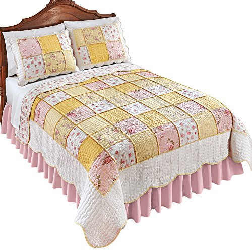 Collections Pink Blissful Shabby Chic Floral Reversible Patchwork Quilt, Yellow, King