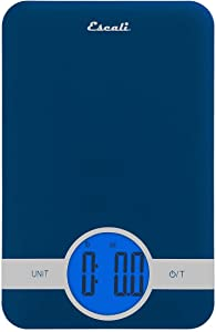 Escali Ciro C115U Blue Backlit Digital Display Table Top Scale, Tare Functionality, Liquid and Dry Measurements, Office, Kitchen, 11lb Capacity, Blue