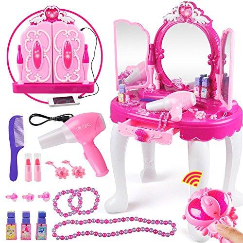 Yosoo Girls Make Up Dressing Table, Kids Pretend Play Toy Beauty Mirror Vanity Playset with Stool, Mirror, Hair Dryer Makeup Accessories Girls Gift