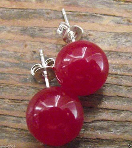 FidgetKute Handmade 10mm Red Jade Ruby Round 925 Sterling Silver Stud Earrings ()