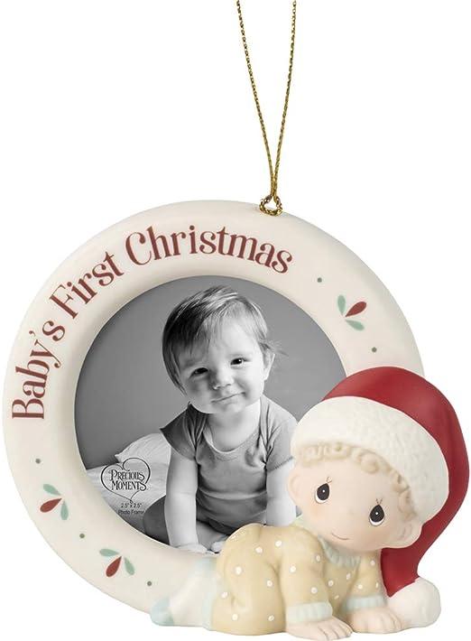 Amazon Com Precious Moments 201010 Baby S 1st Christmas Photo Frame Bisque Porcelain Ornament Home Kitchen