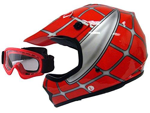 TMS Youth Child Kids Red Spider Net Dirt Bike Motocross MX Dirt Bike ATV Off-Road Helmet DOT w/Goggles (Medium) -  T-Motorsports, HY-601-KIDS-RED-NET-M+AS10-R