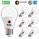 Sunco Lighting 6 Pack A19 Dusk to Dawn LED Light Bulb 9 Watt (60W Equivalent) 3000K Kelvin Warm White 800 Lumens Indoor/Outdoor 15,000 Hours, Sensor Auto ON/Off Security - UL & ENERGY STAR LISTED