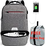 Laptop Travel Backpack Fits 17.3' - High Capacity RFID Business Rucksack Waterproof College Computer Bag for Men and Women with USB Port and Shoes Compartment Grey