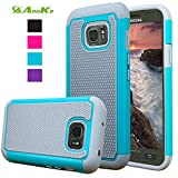 Galaxy S7 Active Case, AnoKe [Anti-slip][Shock Absorption Shockproof] Silicone Hard Rubber Hybrid Armor [Ball pattern] Protective Case Cover For Samsung Galaxy S7 Active G891A - QW Mint