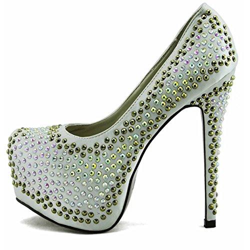 Schuhe Kaufen Online Günstig Damen-Plattform-Absatz-Partei-Hochzeit Glitter Stiletto Stil 3 - Elfenbein
