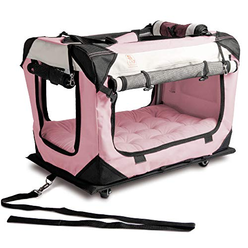 Pink Cat Carriers - PetLuv Happy Pet Dog & Cat Pull-A-Long Premium Soft Sided Foldable Top & Side Loading Pet Carrier & Travel Crate - Locking Zippers Shoulder Straps Seat Belt Lock Nap Pillow Reduces Anxiety