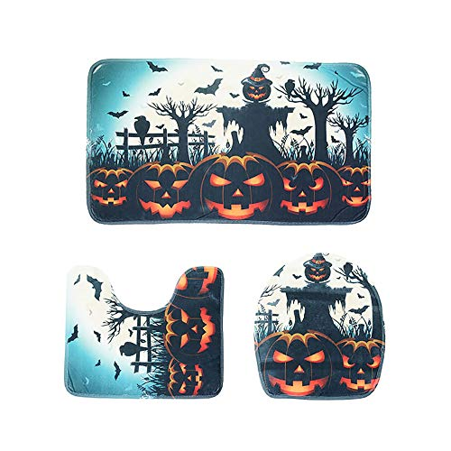 3Pcs Bathroom Rugs Set, Halloween Funny Toilet Rug Anti Slip Bath Mat Home Decor Bathroom Anti-Slippery Rubber Back & Elastic Edges Soft Comfort Anti-Skid Absorbent by Jessie storee, E -