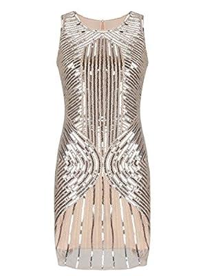 KAYAMIYA Women's 1920S Luxury Full Beaded Sequined Embellished Flapper Evening Dress