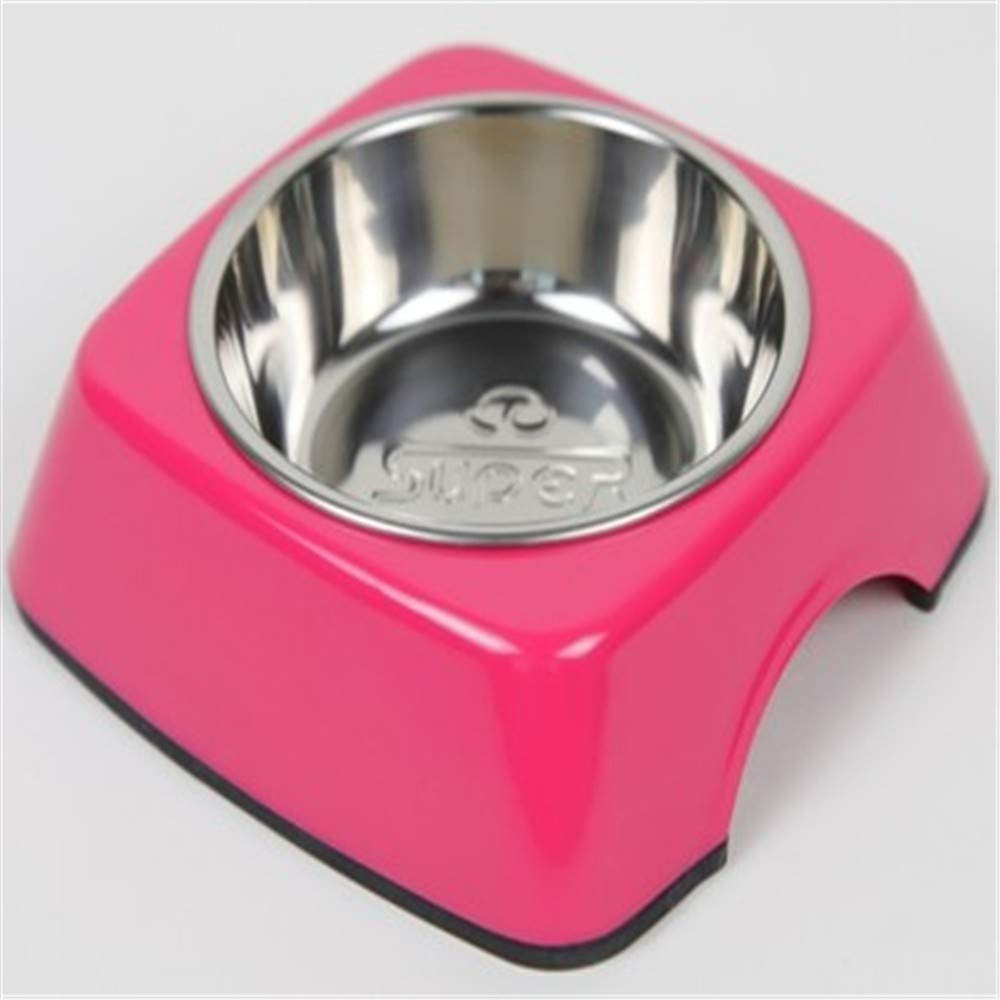 PeachBlossomSource Super Pet Bowl Stainless Steel Tableware Water Bowl Dog Bowl Rice Basin Classic Party Bowl,Pink,Xl