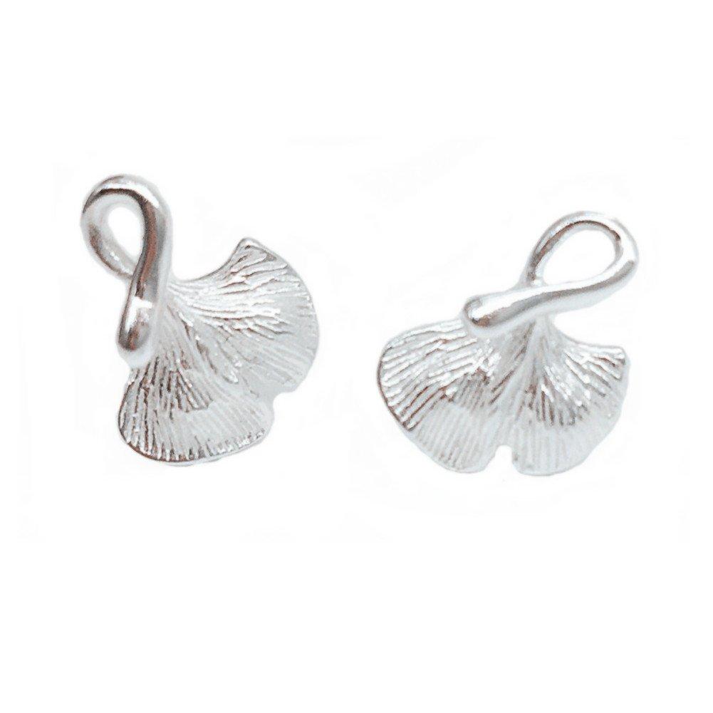 Helen de Lete Little 3D Ginkgo Leaf 925 Sterling Silver Stud Earrings